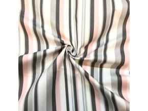 Bavlnené plátno sivo-ružové prúžky