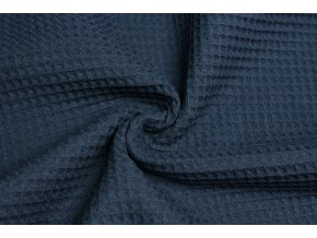 Bavlna vafle modrá jeans