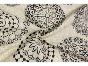Bavlna režná veľké čierne mandaly na béžovom melíri