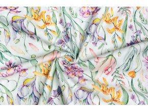 Bavlnený satén kvety fialové a žlté Digi tlač