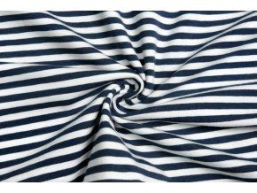 Bavlnený úplet pruhy sivé a biele 0,5 cm