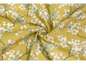 Bavlnené plátno kvety čerešní na horčicovej