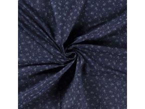Rifľovina košeľová námornícka modrá s ružičkami