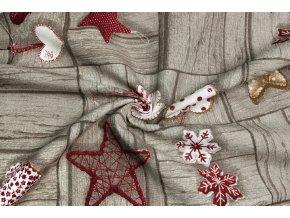 Bavlna režná vianočné dekorácie na dreve
