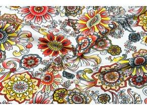 Bavlnený úplet kvetinové mandaly na bielej