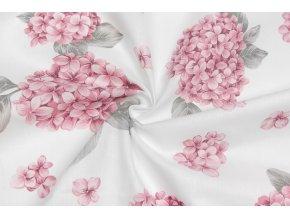 Bavlnené plátno ružové hortenzie