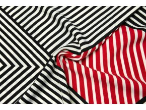 Umelý hodváb / Silky čierno-červená geometria s jednostrannou bordúrou