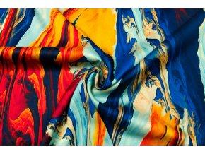 Umelý hodváb / Silky červeno-oranžový abstraktný vzor