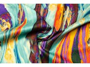 Umelý hodváb / Silky fialovo-oranžový abstraktný vzor