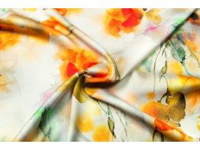 Umelý hodváb / Silky oranžové neónové abstraktné kvety