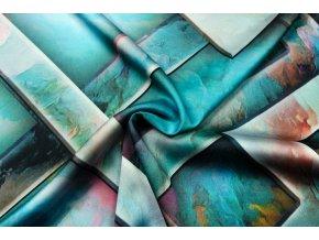 Umelý hodváb / Silky tyrkysové geometrické vzory