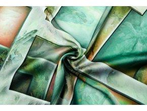 Umelý hodváb / Silky zelené geometrické vzory
