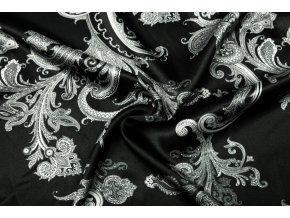 Umelý hodváb / Silky Armani biele kašmírové ornamenty na čiernej