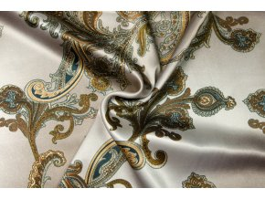 Umelý hodváb / Silky Armani kašmírový vzor na béžovej