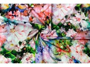 Viskózový úplet veľké farebné kvety