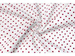 Bavlnené plátno červené bodky na bielej 0,5 cm