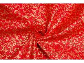 Vianočné bavlnené plátno zlaté krútené vetvičky na červenej