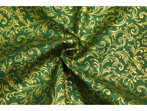 Vianočné bavlnené plátno zlaté krútené vetvičky na zelenej