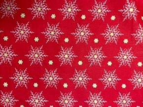 Vianočné bavlnené plátno zlaté vločky a hviezdy na červenej