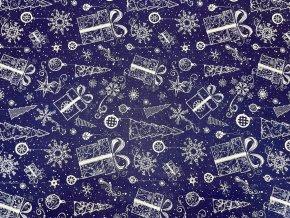 Vianočné bavlnené plátno darčeky a stromčeky na tmavomodrej