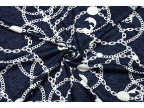 Viskózový úplet biele reťaze na modrom melíri