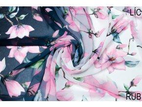 Šifón kamélie na modrom ombré