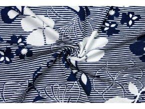 Viskózový úplet modro-biele kvety na prúžkoch