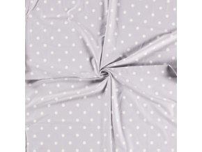 Bavlnený úplet biele bodky na svetlosivej