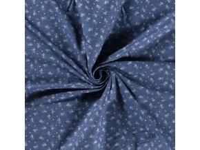 Rifľovina košeľová modrá s ružičkami