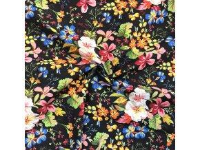 Bavlna režná farebné kvety na čiernej