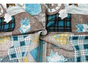 Bavlna režná hnedý vianočný patchwork
