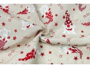 Bavlna režná vianoční škriatkovia