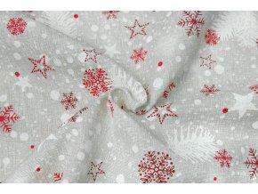 Bavlna režná vianočné vločky a hviezdičky