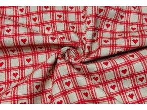 Bavlnené plátno červené kocky so srdiečkami