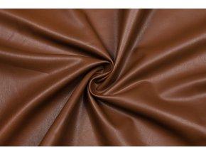 Koženka odevná elastická hnedá brúsený rub