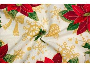 Bavlna režná vianočné hviezdy a cezmíny