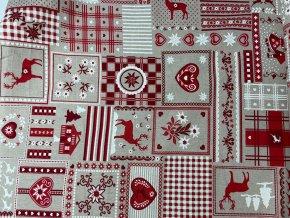 Bavlna režná Vianočný patchwork