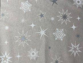 Bavlna režná hviezdy a vločky na svetlej režnej