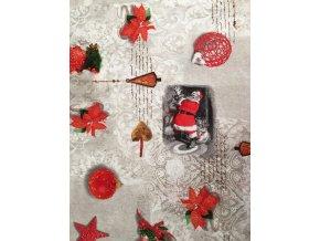 Bavlna režná Santa Claus a červené vianočné motívy