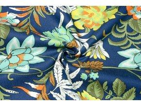 Rifľovina odľahčená elastická farebné kvety na tmavomodrej