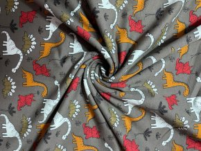 BIO teplákovina jemne počesaná dinosaury na khaki