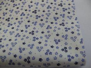 bavlna modré kytičky na biele