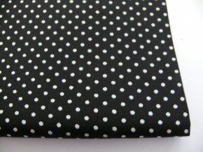 Bavlna puntíčky biele na čierne