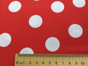 plátno biely puntík na červené,.