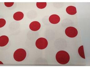 Bavlnené plátno červené guľky na bielej