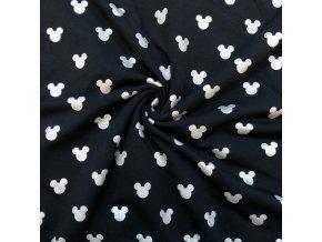 Teplákovina strieborné hlavičky Mickey na čiernej