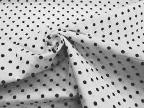 Bavlna puntík čierny na biele (2)