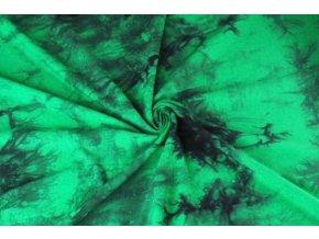 Bambusový úplet jasně zelená batika