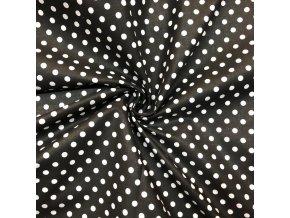 Bavlna biele guľky na čiernej 0,6 cm