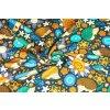 Bavlnené plátno ježkovia a kytičky